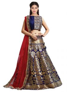 New Navy Blue & Golden Jacquard Lahenga Choli(kzl-026)