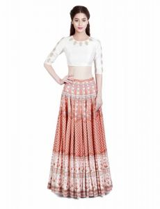 Chaniya, Ghagra Cholis - Thankar Orange & Multi Digital Printed Tapeta Silk Lehenga Tdl127-fal10