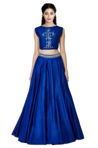 Thankar Royal Blue Art Work Tapeta Silk Lehenga Tdl127-fal20