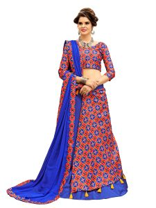 Ravechi Fab Royal Blue And Red Ikat Patola Half N Half Style Chaniya Choli With Tassel (code-rnvt-04)