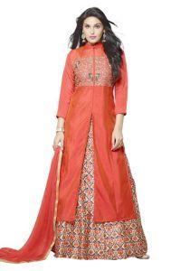 Anarkali Suits - Thankar Orange Embroidered C/n 2 Ton (heavy Silk) Indo Western Tiw106-2473