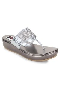Slippers, Flipflops (Women's) - Naisha Women's Synthetic Leather Silver Platform Slippers (Code - SC-PT-183-Silver)