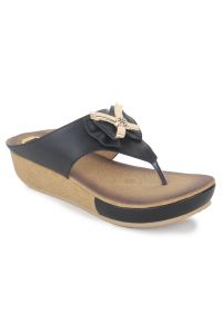 Slippers, Flipflops (Women's) - Naisha Women's Synthetic Leather Black Platform Slippers (Code - SC-PT-701-Black)