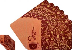 Glassiano Abstract Printed Table Mats - (set Of 6pcs + 6pcs Coaster) (code - Gitm_goldf01)