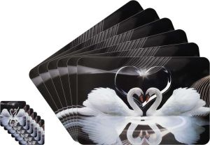 Glassiano Love Collection Printed Table Mats - (set Of 6pcs + 6pcs Coaster) (code - Gitm_goldf16)