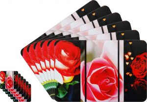 Glassiano Floral Printed Table Mats - (set Of 6pcs + 6pcs Coaster) (code - Gitm_goldf18)