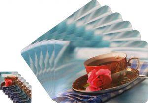 Glassiano Abstract Printed Table Mats - (set Of 6pcs + 6pcs Coaster) (code - Gitm_goldf32)