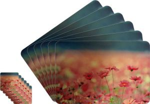Glassiano Floral Printed Table Mats - (set Of 6pcs + 6pcs Coaster) (code - Gitm_goldf46)