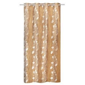 Be Brown Jacquard Floral Design Window Curtain