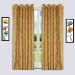 Furnishings - Window Curtain Jacquard Floral Design Brown Bh13C7W