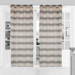 Door Curtain Jacquard Geometric Design Beige Bh151c1d