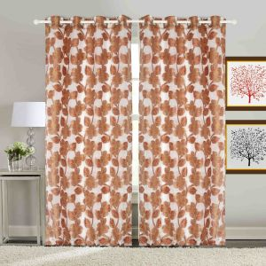 Door Curtain Jacquard Floral Design White Bh62x4d