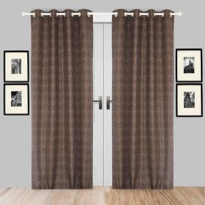 Door Curtain Jacquard Geometric Design Brown Bh90c3d