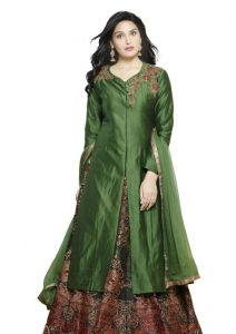 Women's Clothing ,Dress Materials ,Sarees ,Anarkali Suits  - Fabliva Green Embroidered C/n 2 Ton Silk Indo Western Lehenga Choli Fiw106-2472
