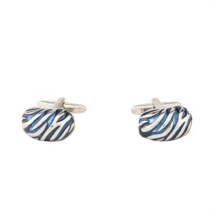 Cufflinks - Dapper Homme Self Design Blue Color Cufflinks  For Men
