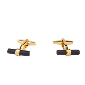 Dapper Homme Solid Black Color Cufflinks For Men