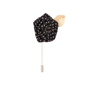 Dapper Homme Black Rose With Golden Leaf Lapel Pin-dhlp1701.