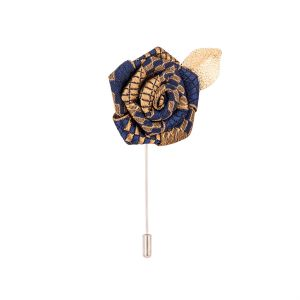 Dapper Homme Navy Blue & Brown Rose With Golden Leaf Lapel Pin-dhlp1703.