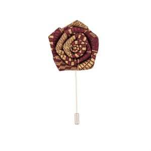 Dapper Homme Maroon And Brown Rose Lapel Pin-dhlp1704.