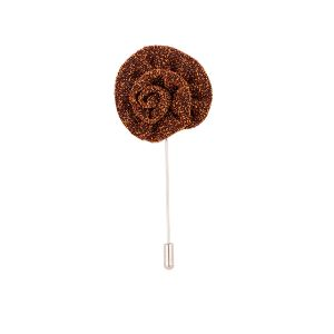 Dapper Homme Metallic Bronze Flower Lapel Pin-dhlp1706.