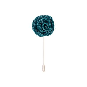 Dapper Homme Metallic Turquoise Blue Flower Lapel Pin-dhlp1710.