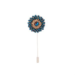 Dapper Homme Blue Beads With Gold Design Lapel Pin-dhlp1738.