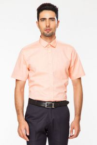 Dapper Homme Orange Color Egyptian Cotton Regular Fit Shirt For Men