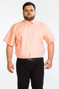 Formal Shirts (Men's) - DAPPER HOMME orange color Egyptian Cotton  Plus sized shirt for men