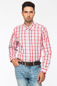 Dapper Homme Red Color Egyptian Cotton Regular Fit Shirt For Men