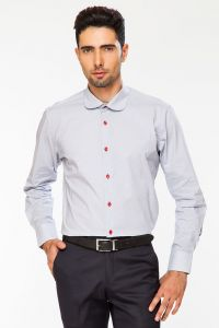 Dapper Homme Red Color Egyptian Cotton Slim Fit Shirt For Men