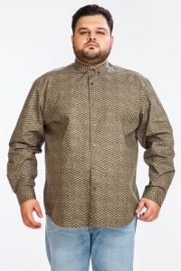 Dapper Homme Brown Color Egyptian Cotton Plus Sized Shirt For Men