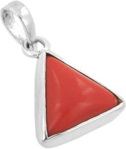 Gemstones - Malabar Gems Lab Certified Triangular Red Coral Pendant, Moonga Locket in 925 Silver