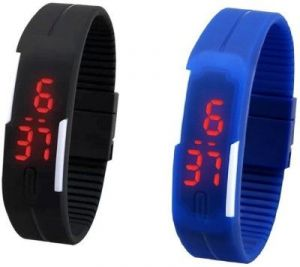 Mango People Silicone Rectangular Boys Digital Wrist Watch Band Style LED Pack Of 2 (code - Mp-oled-bk_bl)