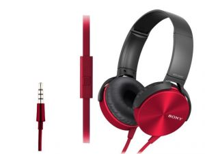 Sony Mdr-xb450ap Extra Bass Red Headphone With Mic