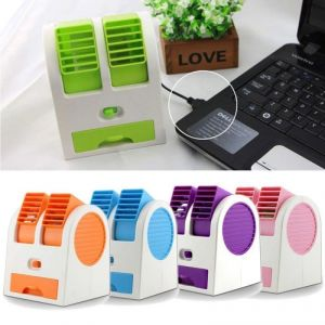 House Warming Gifts - Dealcrox Mini Small Fan Cooling Portable Desktop Dual Bladeless Air Cooler USB With USB Cable