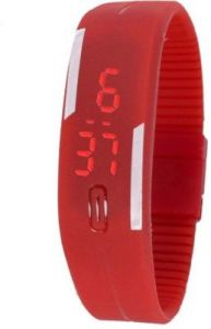 Mango People Silicon Based Rectangular Boys Digital Wrist Watch Adventure Band Style LED (code - Mp-led-rd)