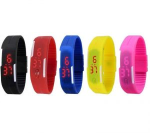 Pack Of 5 Different Colors LED Watches
