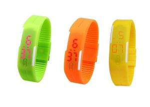 Pack Of 3color Green Orange Yellow LED Digital Watches For Men And Women