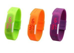 Pack Of 3color Green Orange Purple LED Digital Watches For Men And Women