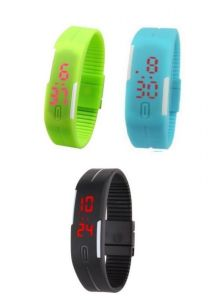 Pack Of 3color Green Skyblue Black LED Digital Watches For Men And Women