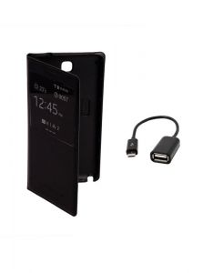 Koloredge Flip Cover Plus Otg Cable For Samsung Galaxy Note 3 7505 -black