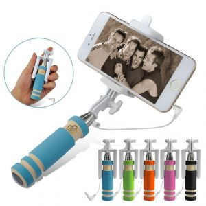 Hot Super Mini Handheld Monopod Fold Self Stick Holder Wired Selfie Stick
