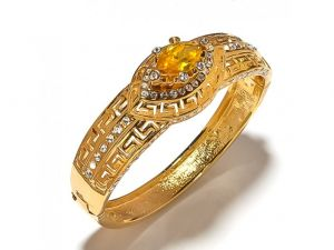 Sanaa Creations Gold Plated Yellow Stone Fancy Kada For For All Occasions Free Size-(product Code-1kd31)