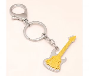 Sanaa Creations Multi Use Of Gold-silver Unique Charm Guitar Shape Keychain/pendant-(product Code-1kp35)