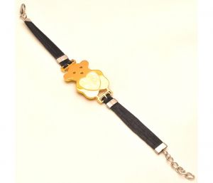 "Sanaa Creations Men""s Gold Color Butterfly Bracelet With Black Belt-(product Code-1mb02)"
