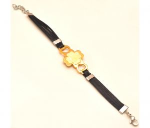 "Sanaa Creations Stylish Men""s Gold Color Butterfly Bracelet With Black Belt-(product Code-1mb04)"