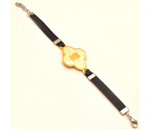 "Sanaa Creations Men""s Gold Color Fancy Buckle Bracelet With Black Belt-(product Code-1mb10)"