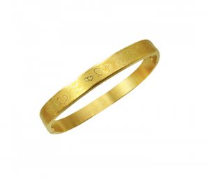 Sanaa Creations Symbol Of Love Design Stylish Bracelet-kada For Men Gold Plated-(product Code-1mb190)