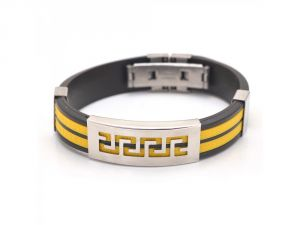 Sanaa Creations The Jewelbox Biker Yellow-black Silicon Stainless Steel Openable Metal Bracelet For Men-(product Code-1mb33)