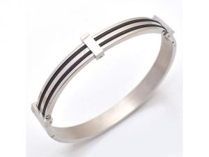 Sanaa Creations The Jewelbox Stainless Steel Gold Rhodium Plated With Black Strip Free Size Bracelet For Men -(product Code-1mb40)